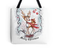 Reindeer and Squirrel - Merry Christmas Tote Bag