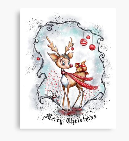 Reindeer and Squirrel - Merry Christmas Canvas Print