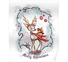 Reindeer and Squirrel - Merry Christmas Poster