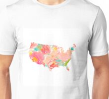 usa map floral us america map Unisex T-Shirt