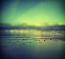 Coastal shoreline in surreal green blue Hasselblad medium format film analog photograph by edwardolive