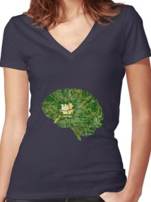 Computerized Brain Women's Fitted V-Neck T-Shirt