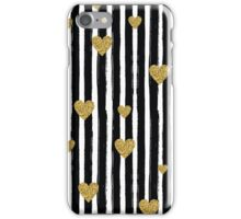gold glitter hearts black and white stripes iPhone Case/Skin
