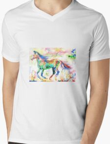 HORSE RUNNING in a PSYCHEDELIC LANDSCAPE Mens V-Neck T-Shirt