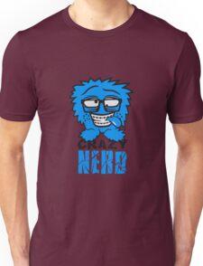 logo nerd geek schlau hornbrille zahnspange freak pickel haarig monster wuschelig verrückt lustig comic cartoon zottelig crazy cool gesicht  Unisex T-Shirt
