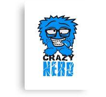 logo nerd geek schlau hornbrille zahnspange freak pickel haarig monster wuschelig verrückt lustig comic cartoon zottelig crazy cool gesicht  Canvas Print