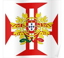 Portuguese Templar Cross with Coat of Arms Poster