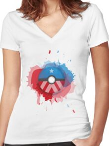 Marvel's Captain America - Pokeball - Abstract Women's Fitted V-Neck T-Shirt