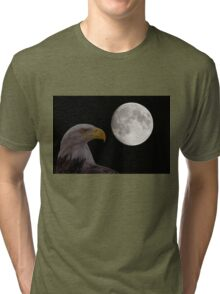 Bald Eagle With  Full Moon  Tri-blend T-Shirt
