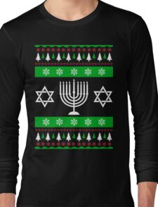 Jewish Ugly Sweater T-Shirt, Funny Hanukkah Ugly Sweater Long Sleeve T-Shirt