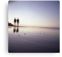 Two people walking on beach on summer evening Hasselblad medium format film analog photograph Canvas Print