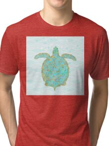 Tucker Turtle, swimming sea turtle coastal art Tri-blend T-Shirt