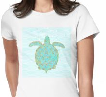 Tucker Turtle, swimming sea turtle coastal art Womens Fitted T-Shirt