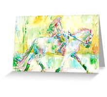 GIRL MOUNTING a HORSE Greeting Card