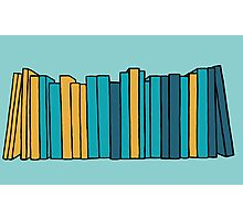 Books - teal, blue, gold Photographic Print