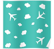 Flying High : Airplane Cloud Sky Design Print Poster