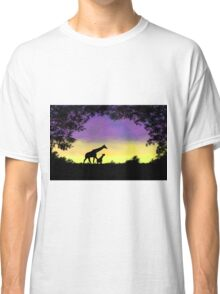 Mother and baby giraffe at sunset Classic T-Shirt
