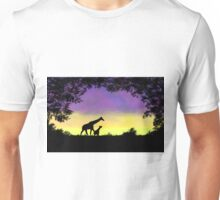 Mother and baby giraffe at sunset Unisex T-Shirt