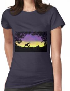 Mother and baby giraffe at sunset Womens Fitted T-Shirt