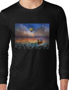 THE CANOE AND THE BALOON AT THE BEACH, by E. Giupponi Long Sleeve T-Shirt