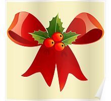 Christmas Ribbon Red Holly Green Decoration BerryChristmas Ribbon Red Holly Green Decoration Berry Poster