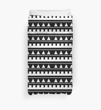 Black and White Geometric Triangle Print / Tribal / Boho Duvet Cover