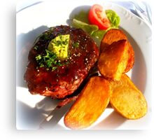 Ribeye steak with country potatoes Canvas Print
