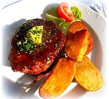 Ribeye steak with country potatoes Photographic Print