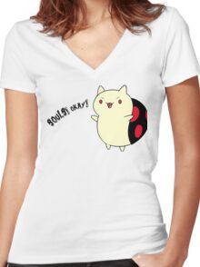 Catbug - Adventure Time - Evil Parody Women's Fitted V-Neck T-Shirt