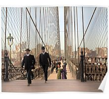 Brooklyn Bridge, New York, 1905 — Colorized Poster
