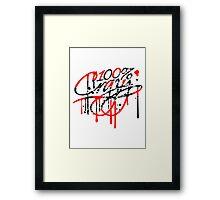 kratzer risse graffiti spray tropfen farbe 100 hundert prozent elegant text schrift logo design cool crazy verrückt verwirrt blöd dumm komisch gestört  Framed Print