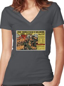 200 WW2 Soldiers Comic Book Ad Women's Fitted V-Neck T-Shirt