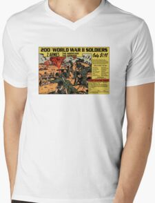 200 WW2 Soldiers Comic Book Ad Mens V-Neck T-Shirt