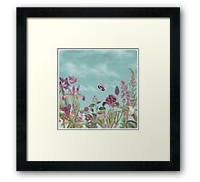 Mauve flowers on turquoise sky background Framed Print