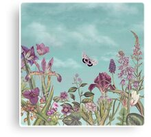 Mauve flowers on turquoise sky background Canvas Print