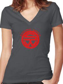 Westworld Samurai World Red Symbol Women's Fitted V-Neck T-Shirt