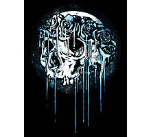 Blue Flower Crown Skull~ Photographic Print