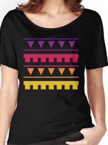 Tribal Party : Geometric Triangle Sunset Stripe Print Women's Relaxed Fit T-Shirt