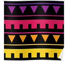 Tribal Party : Geometric Triangle Sunset Stripe Print Poster