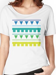 Tribal Water : Geometric Triangle Ocean Stripe Print Women's Relaxed Fit T-Shirt