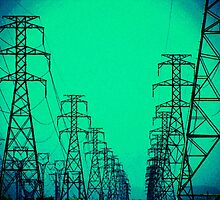 High Voltage Towers, Green by TYRONEPOWERS