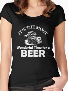 It's Most Wonderful Time For Beer Funny Christmas Women's Fitted Scoop T-Shirt