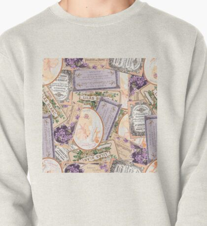 Vintage Labels in Purple + Peach Pullover