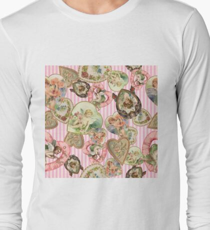 Victorian Romantic  Heart Frames Toss in Vintage Pink + White Striped Paper Long Sleeve T-Shirt
