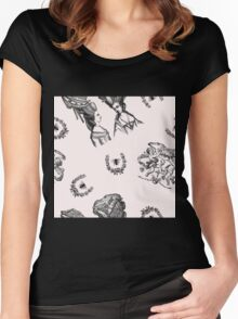 Rococo Toile in Pink Royal Icing Women's Fitted Scoop T-Shirt