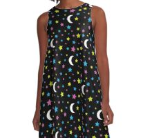 Starry Moon : Stars and Moon Print Design A-Line Dress