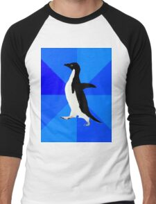 Socially Awkward Penguin MEME Men's Baseball ¾ T-Shirt