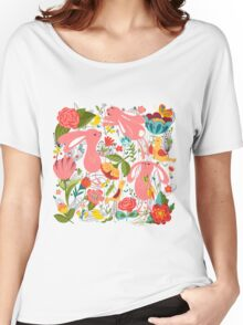Flowers and bunnies seamless pattern Women's Relaxed Fit T-Shirt