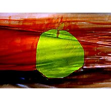 Green apple on red background Photographic Print