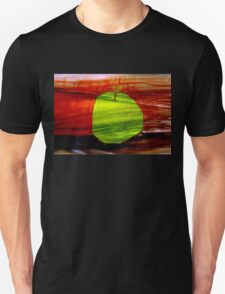 Green apple on red background Unisex T-Shirt